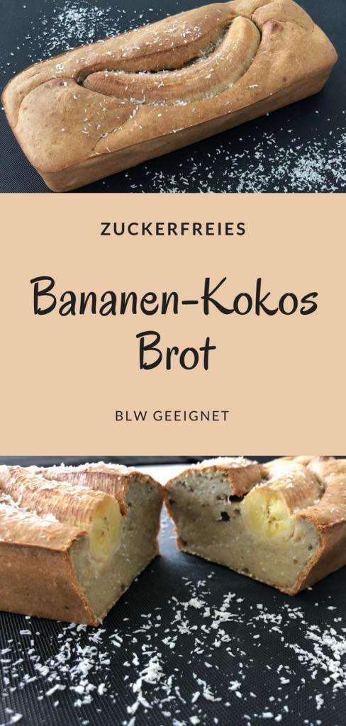 Bananen-Kokos Brot ohne Zucker BLW geeignet Rezept für Kinder Familienrezept